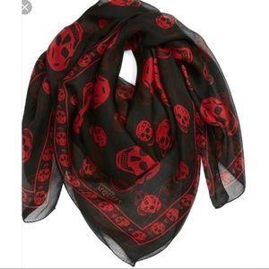 Alexander McQueen Black/Red Silk Skull Scarf